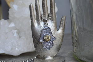 Vintage Citrine Evil Eye Stainless Steel Necklace - We Love Brass