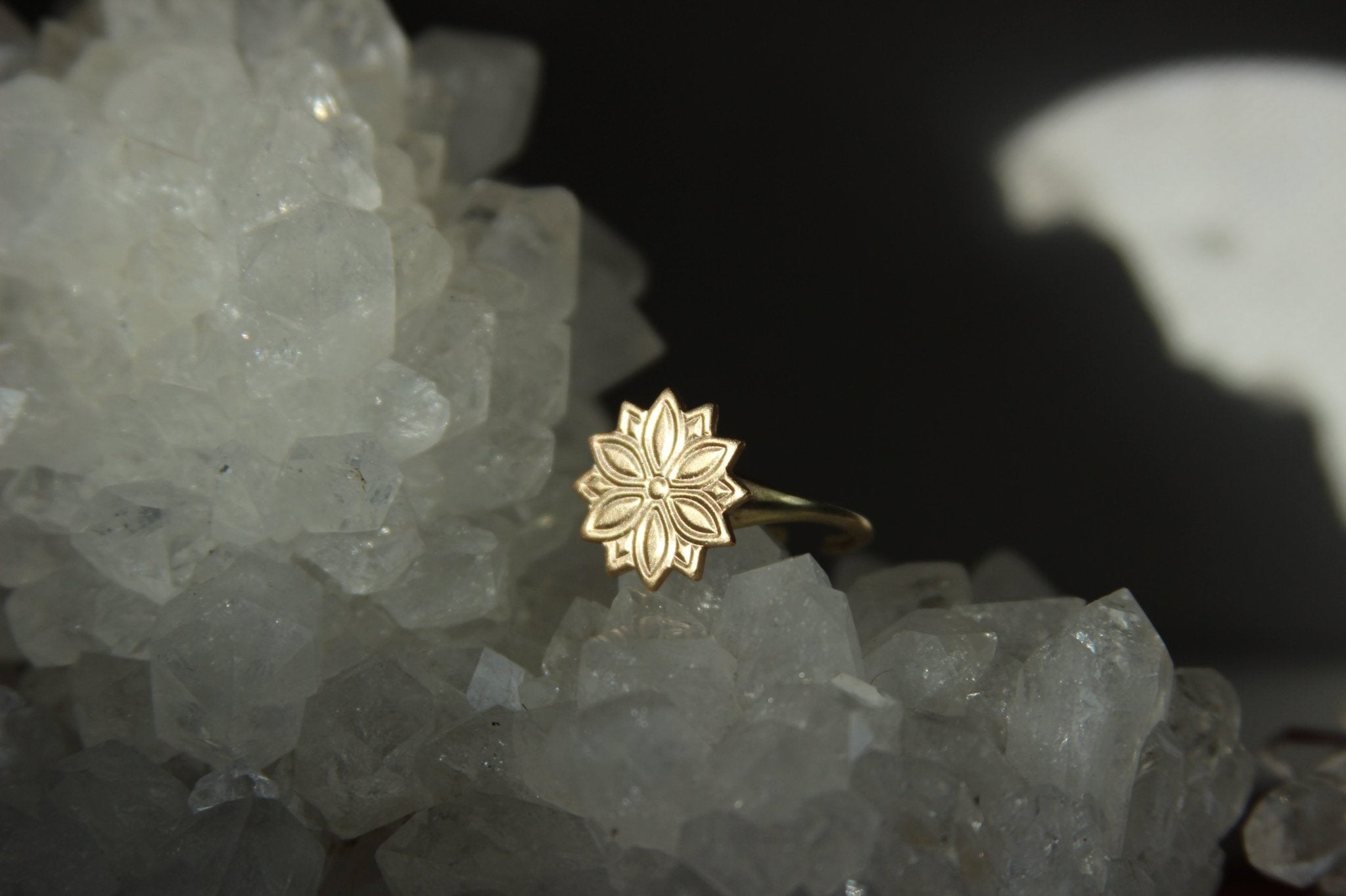 Vintage Mosaic Brass Flower Ring - We Love Brass