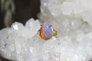 Vintage Pink Glass Brass Opal Ring - We Love Brass
