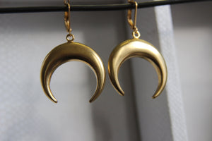 Waxing Moon Brass Earrings