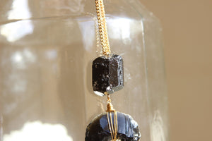 When Darkness Falls Black Tourmaline Necklace - We Love Brass