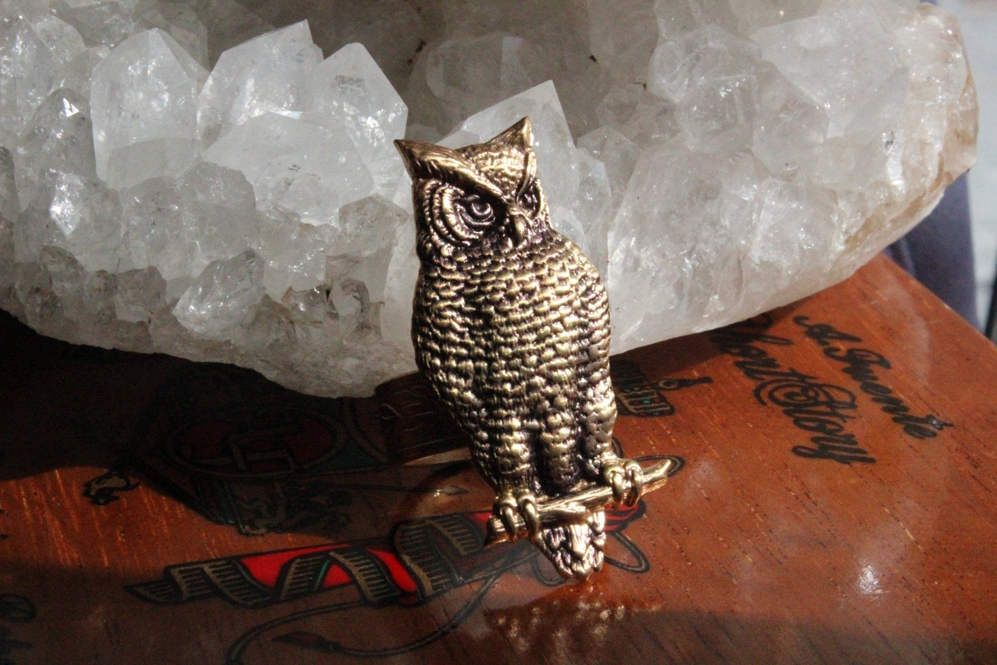 Who is there? Brass Owl Ring - Golden Treasure Box