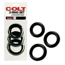 Load image into Gallery viewer, Colt Range Cock Rings COLT 3 Ring Multi Size Cock Ring Set Black