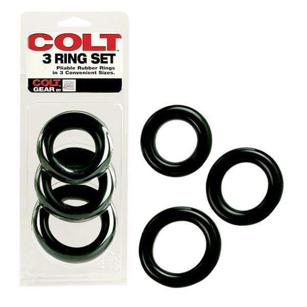 Colt Range Cock Rings COLT 3 Ring Multi Size Cock Ring Set Black