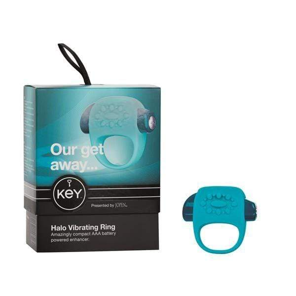 Jopen Cock Rings Key by Jopen Halo Enhancer Cock Ring With Vibrating Clitoral Stimulator Blue