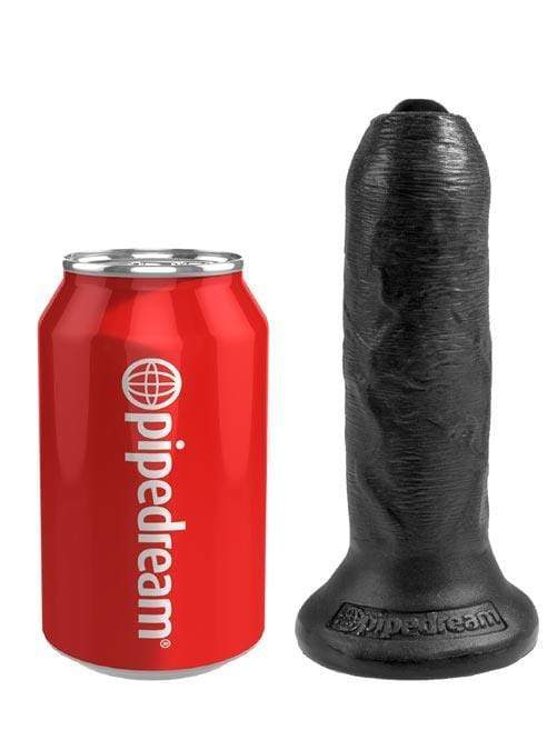 King Cock Realistic Dildos Pipedream King Cock Uncut Black in 6in