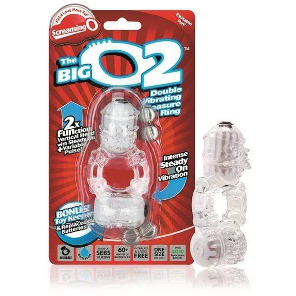 Screaming O Cock Rings Screaming O The Big O2 Vibrating Cock Ring With Clitoral Stimulator In Clear