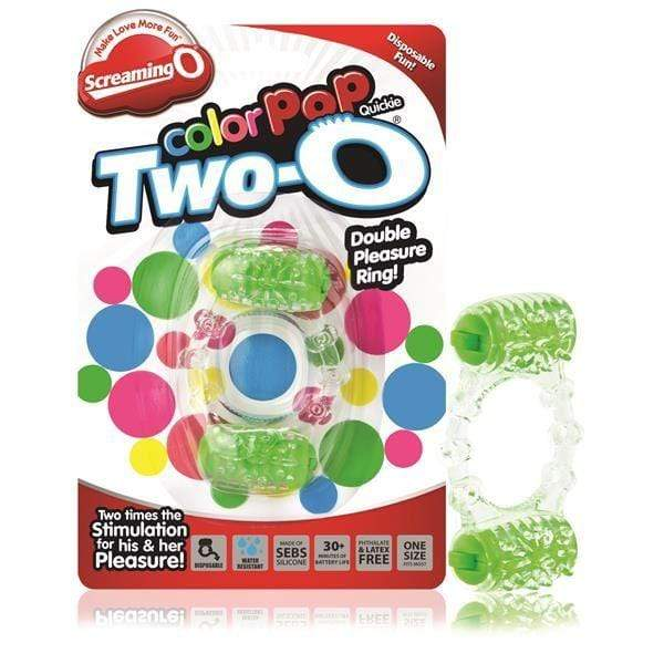 Screaming O - Colour Pop Cock Rings Screaming O Colour Pop Quickie Cock Ring With Two Vibrating Stimulators Green