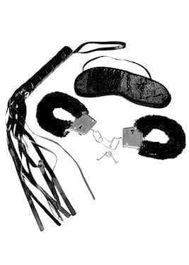 Sex and Mischief Blindfold Handcuff and Whip Beginners Bondage Toy Kit - Spanksy