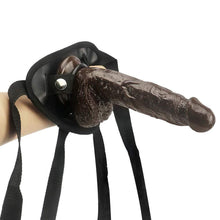 "Load image into Gallery viewer, Spanksy 7"" Strap On Dildo & Harness Set in Brown"