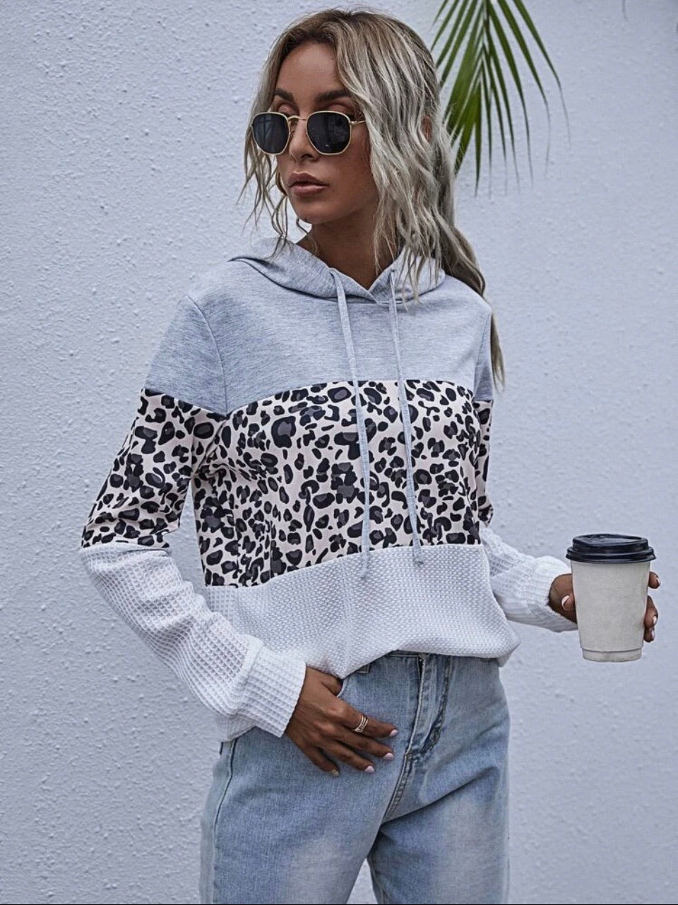 Contrast Leopard Pullover Hoodie
