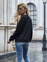 Load image into Gallery viewer, Cold Shoulder Eyelash Lace Trim Sweatshirt
