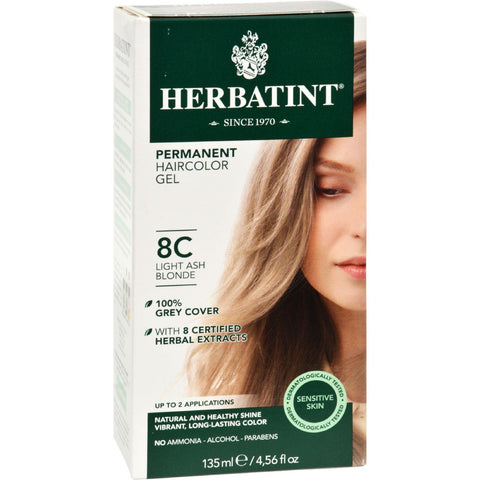 Herbatint Permanent Herbal Haircolour Gel 8c Light Ash Blonde - 135 Ml - Humble + Lavi