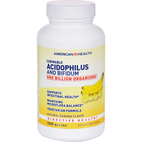 American Health Acidophilus With Bifidus Chewable Banana - 100 Wafers - Humble + Lavi