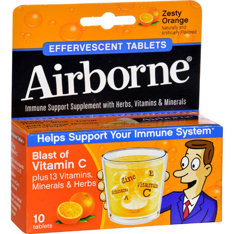Airborne Effervescent Tablets With Vitamin C - Zesty Orange - 10 Tablets - Humble + Lavi
