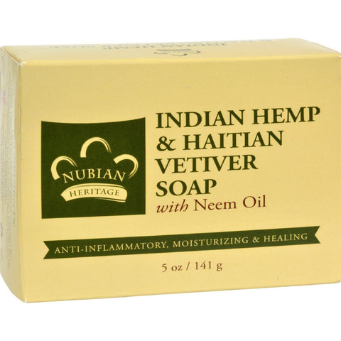 Nubian Heritage Bar Soap Indian Hemp And Haitian Vetiver - 5 Oz - Humble + Lavi