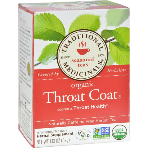 Traditional Medicinals Organic Throat Coat Herbal Tea - Caffeine Free - 16 Bags - Humble + Lavi