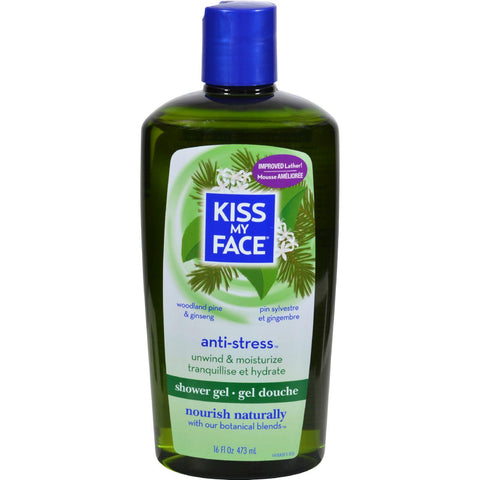 Kiss My Face Bath And Shower Gel Anti-stress Woodland Pine And Ginseng - 16 Fl Oz - Humble + Lavi