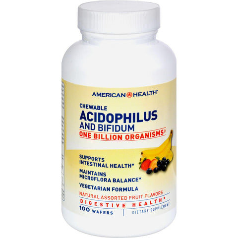 American Health Acidophilus And Bifidum Chewable Fruit - 100 Wafers - Humble + Lavi