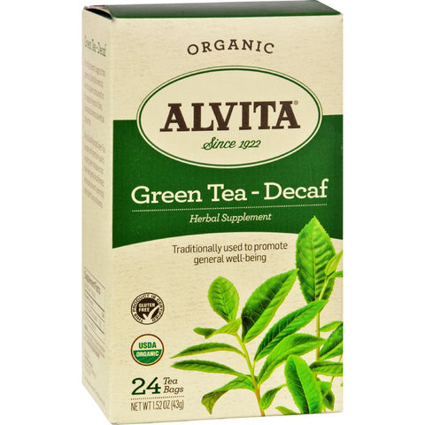 Alvita Organic Green Tea Herbal Supplement - Decaf - 24 Tea Bags - Humble + Lavi