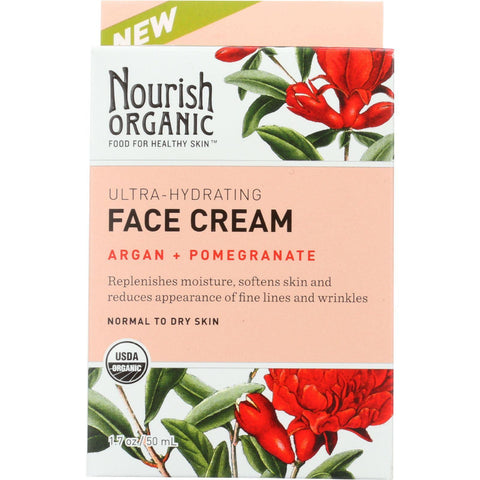 Nourish Organic Face Cream - Ultra Hydrating Argan And Pomegranate - 1.7 Oz - Humble + Lavi