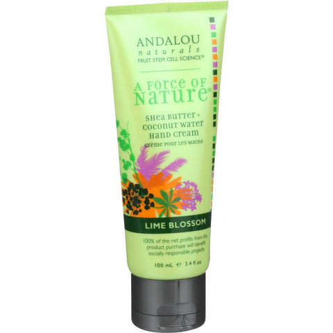 Andalou Naturals Hand Cream - A Force Of Nature Shea Butter Plus Coconut Water - Lime Blossom - 3.4 Oz - Humble + Lavi