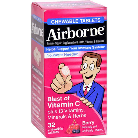 Airborne Chewable Tablets With Vitamin C - Berry - 32 Tablets - Humble + Lavi
