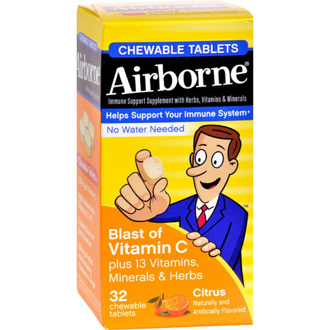 Airborne Chewable Tablets With Vitamin C - Citrus - 32 Tablets - Humble + Lavi