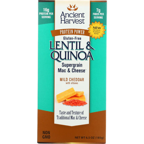 Ancient Harvest Mac And Cheese - Supergrain - Lentil And Quinoa - Mild Cheddar With Elbows - Gluten Free - 6.5 Oz - Case Of 6 - Humble + Lavi