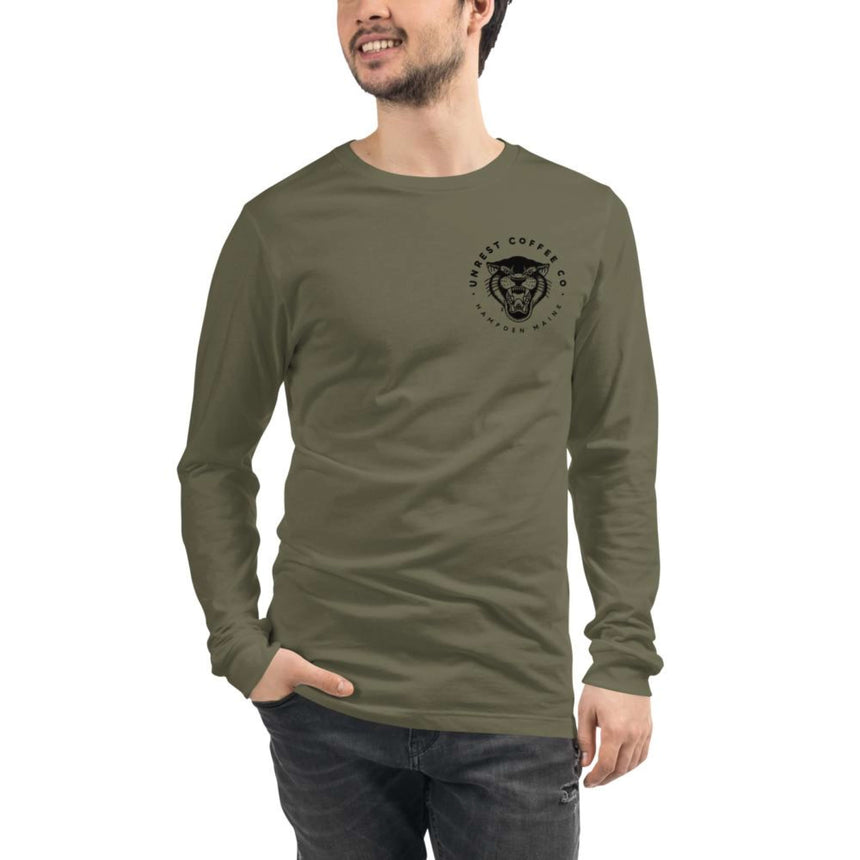 Unisex Long Sleeve Panther Tee 2 by Unrest Coffee in Hampden Maine