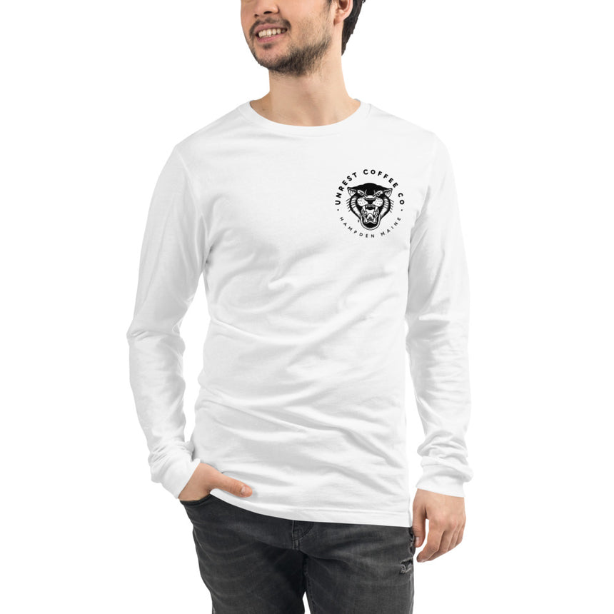 Unisex Long Sleeve Panther Tee 6 by Unrest Coffee in Hampden Maine