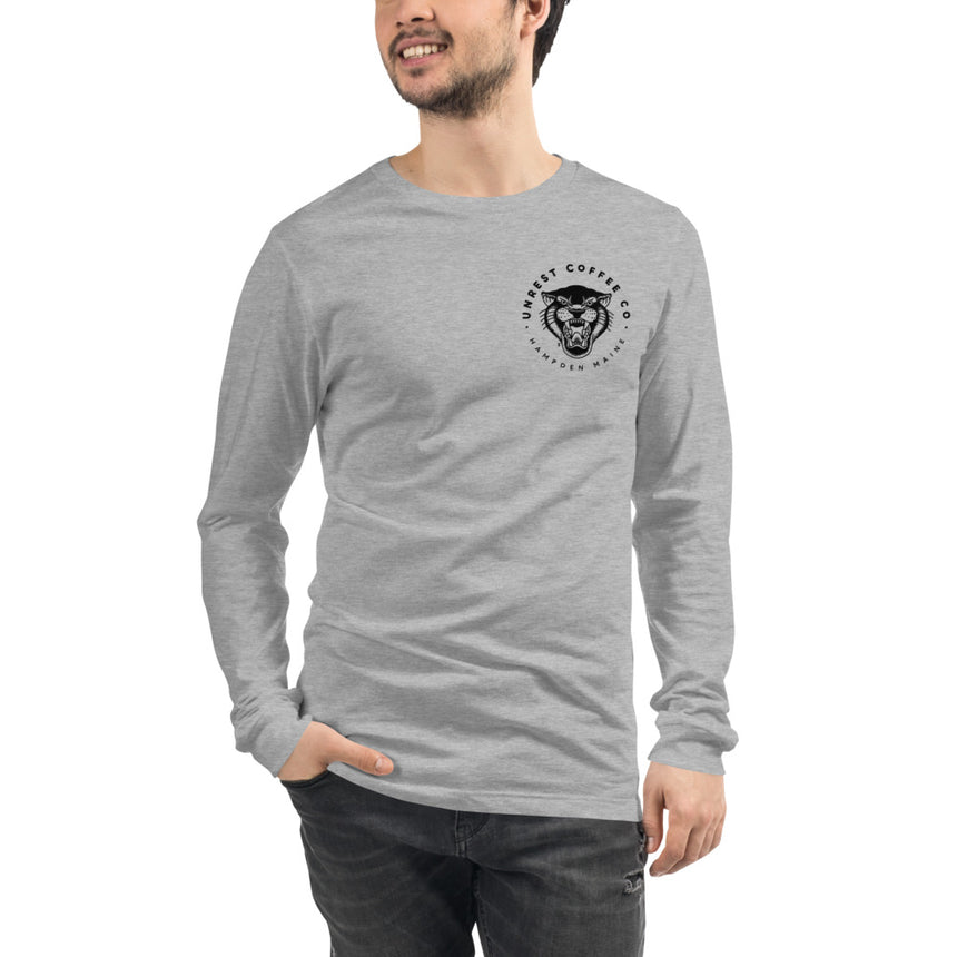 Unisex Long Sleeve Panther Tee 4 by Unrest Coffee in Hampden Maine