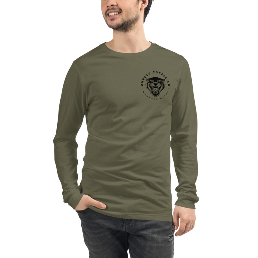 Unisex Long Sleeve Panther Tee 5 by Unrest Coffee in Hampden Maine