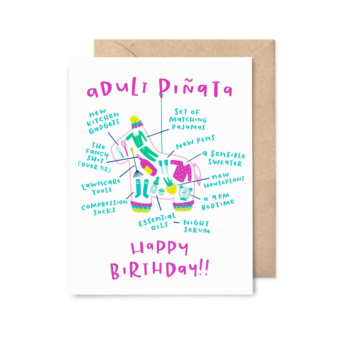 Adult Piñata Birthday Card