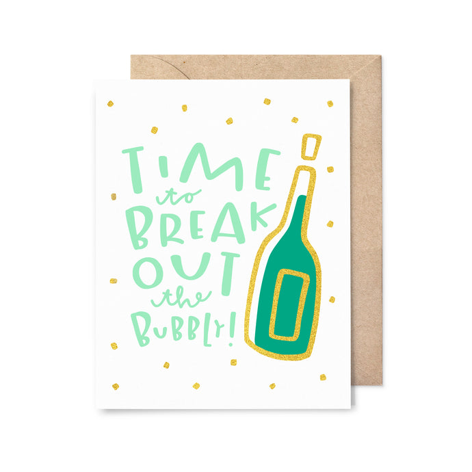 Break out the Bubbly Gold Foil Birthday Card