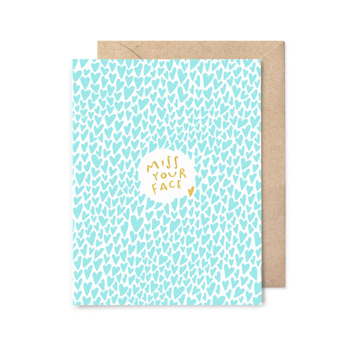 Miss Your Face Gold Foil Love Card