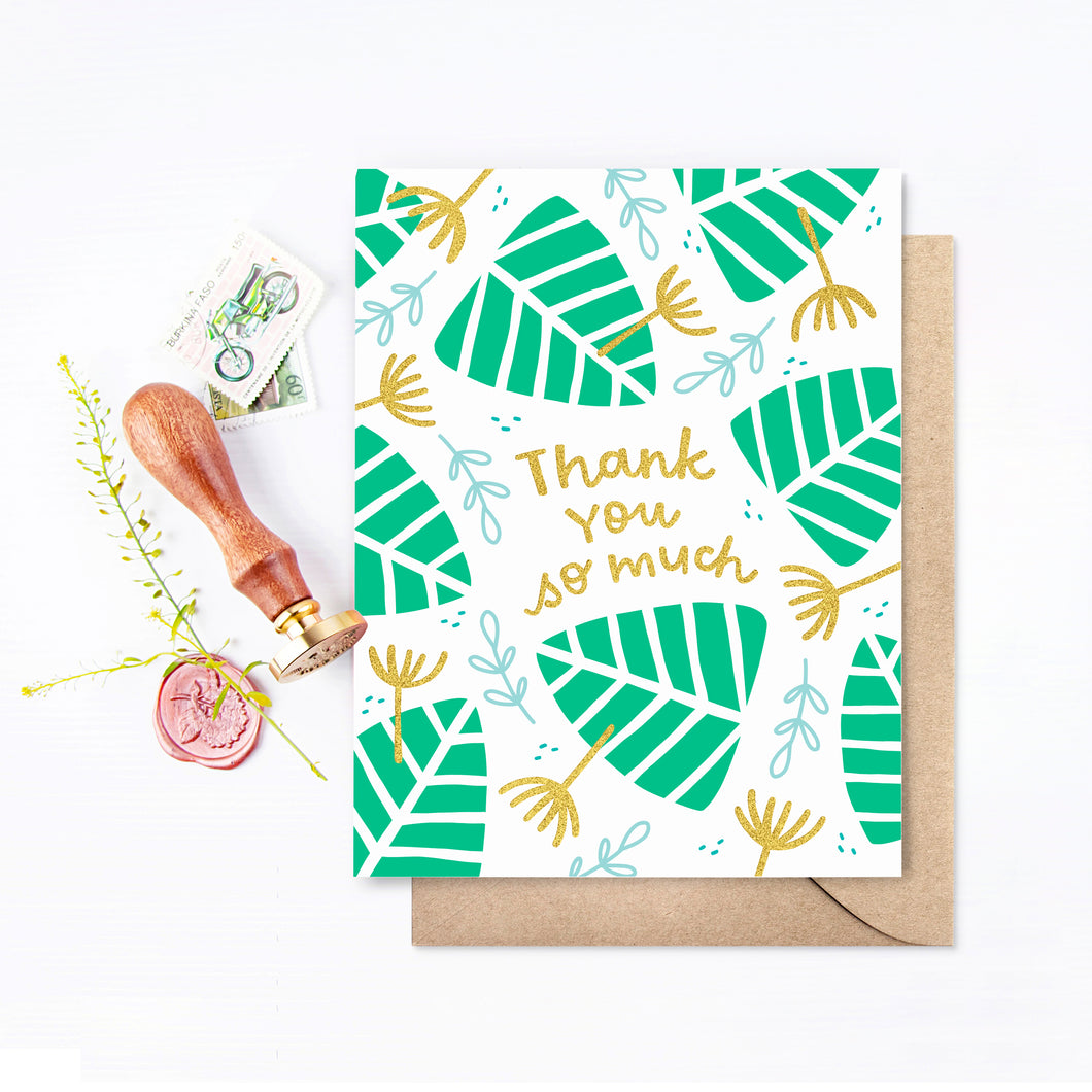 Monstera Gold Foil Thank You Card