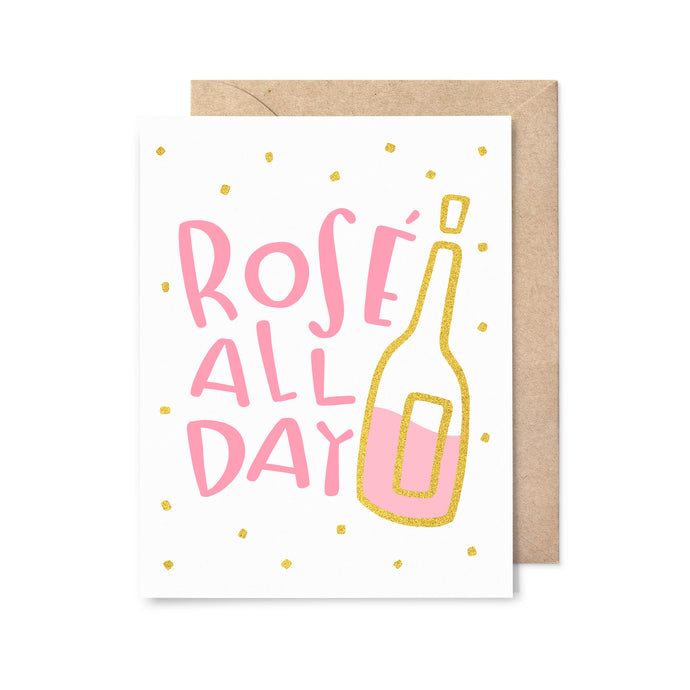 Rose All Day Gold Foil Birthday Card