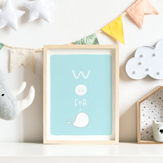 W is for Whale Nursery Print
