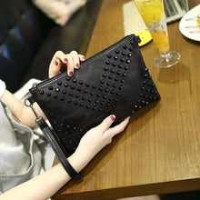 Load image into Gallery viewer, Black Studded Clutch Purse