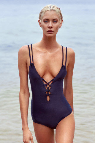 All Laced Up One Piece - Black