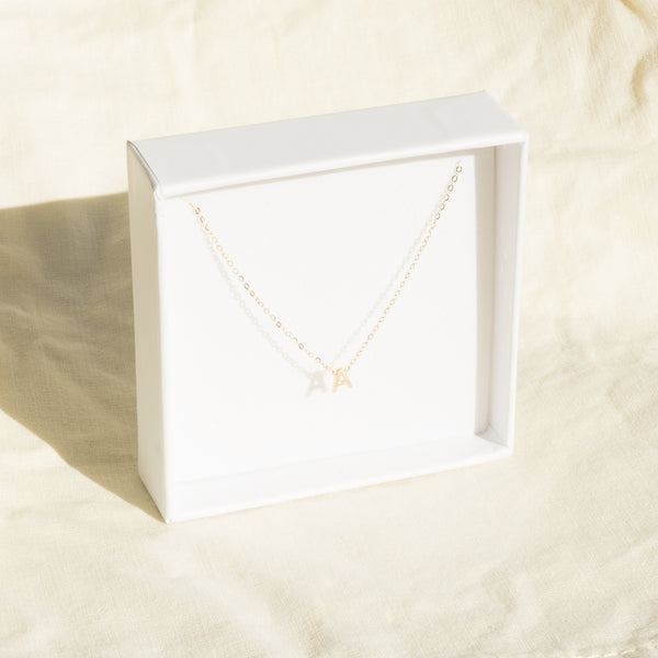 9K solid gold petite letter necklace