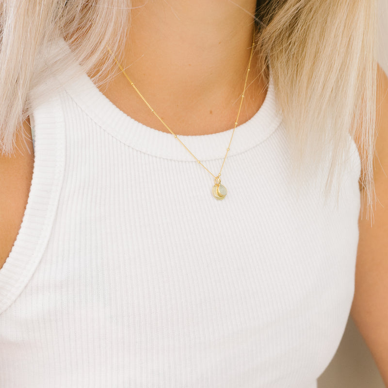 gold initial disc necklace