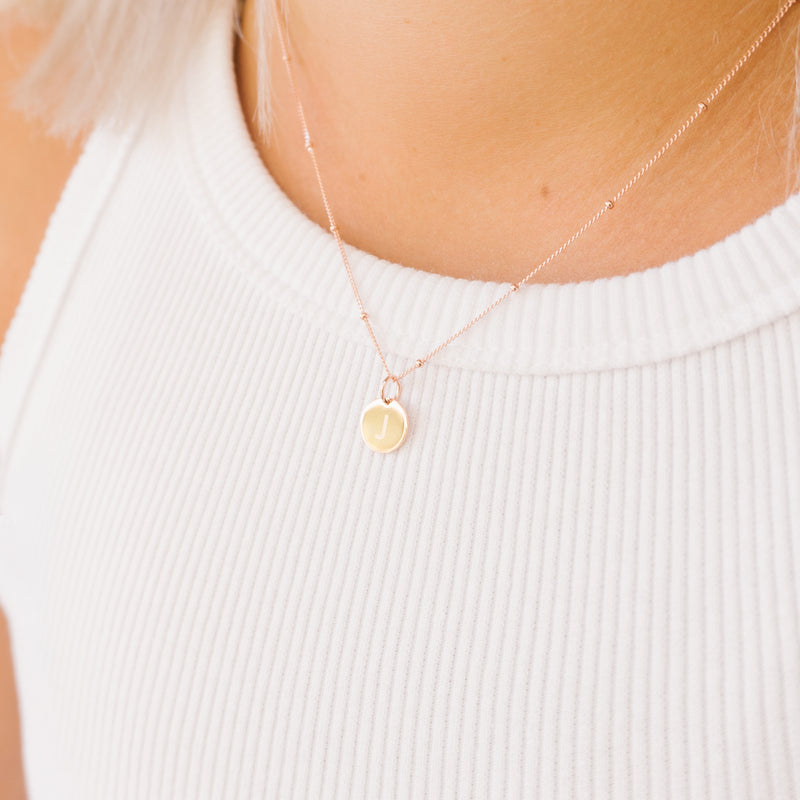 rose gold initial disc necklace