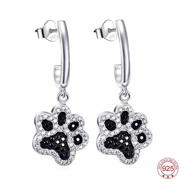 Cat Dog Paw Print Earrings
