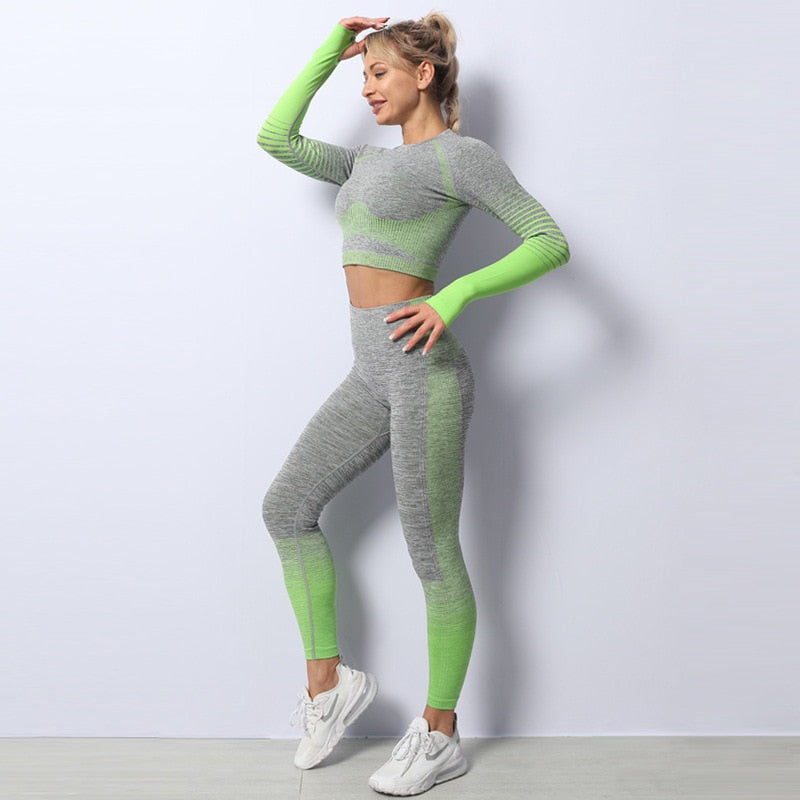 Haut Flex Set - Long Sleeve Crop Top And High Waist Tight Sports Leggings
