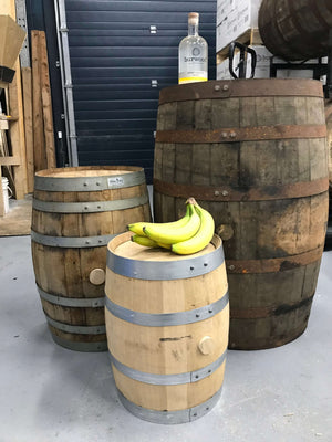 53, 15, & 5 gallon whisky barrels (bananas for scale)