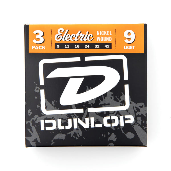 Dunlop DEN0942 9-42 Nickel Wound Light Electric Guitar Strings - 3 Pack