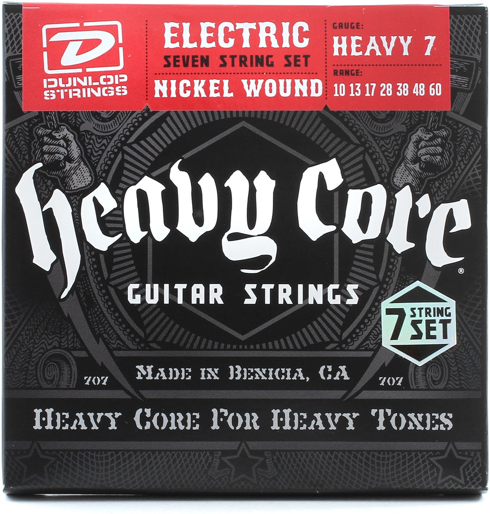 "Dunlop DHCN1060 10-60 Heavy Core NPS ""Heavy 7"" Electric Guitar Strings"