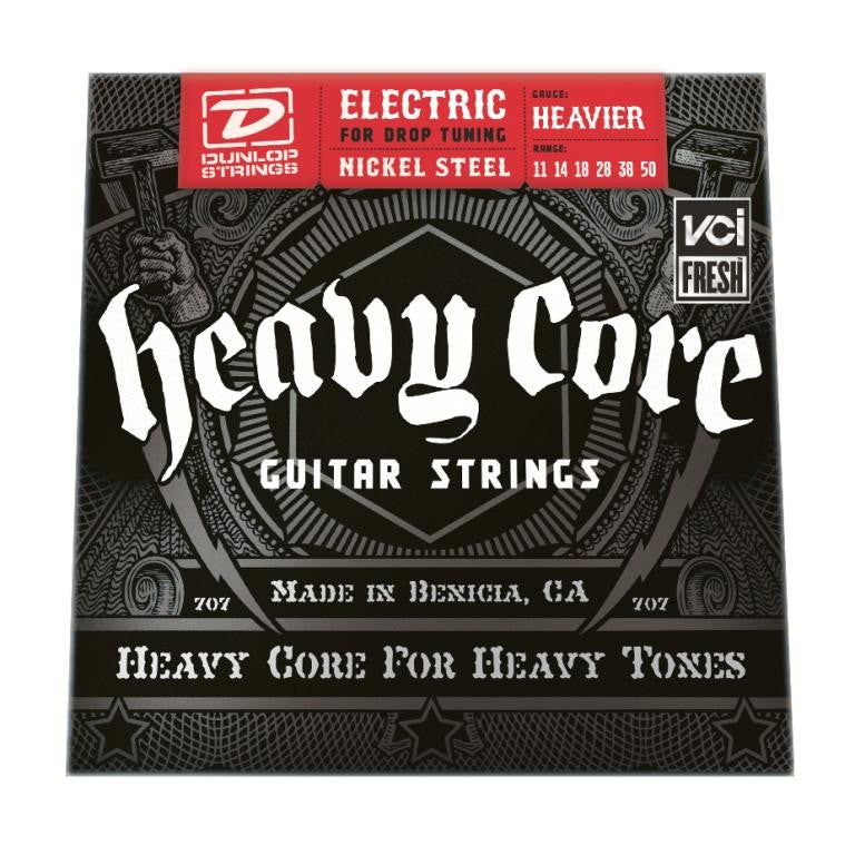 "Dunlop DHCN1150 11-50 Heavy Core NPS ""Heavier"" Electric Guitar Strings - 3 Pack"